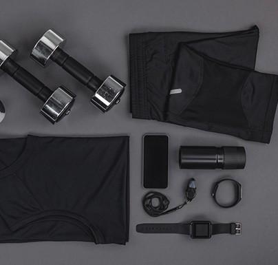 material de deporte vario tonos oscuros